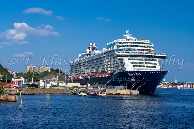 A cruise ship docked at Stadsgarden Cruise Ship Terminal, Stockholm, Sweden.