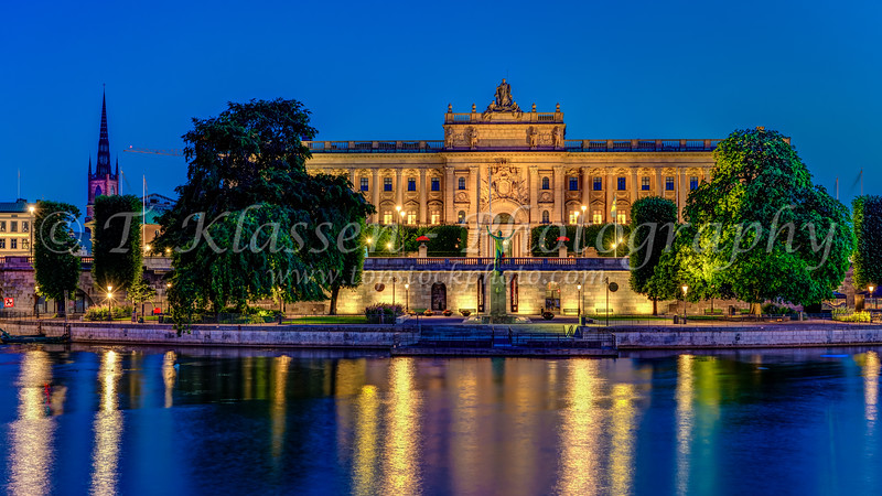 The Parliament House building  at night in Stockholm, Sweden.