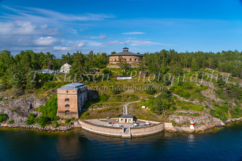 A hotel and cafe along the waterways near Stockholm, Sweden.