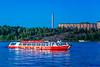A red tourboat near the Frihamnen Cruiseship port in Stockholm, Sweden.