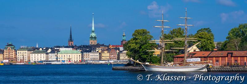 A small schooner docked near Stockholm, Sweden.