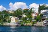 Residential buildings along a waterway in Stockholm, Sweden.