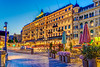 The Grand Hotel illuminated at night in Stockholm, Sweden.