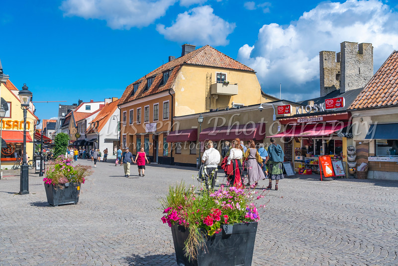 People in the main square of Visby, Gotland, Sweden.