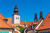 Steeples, spires and orange roof architecture in Visby, Gotland, Sweden.