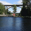 On the left side, are locks to release water, IF necessary downstream..the sightseeing boats etc. come on the other side.