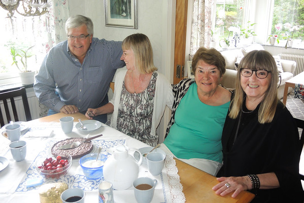 Monday June 28, I visit my cousin Harriet and Stefan for a great Swedish lunch and super desserts. Also there,  my cousin Elisabeth and Claes and my sister Trudy..who was flying back to USA the next morning.