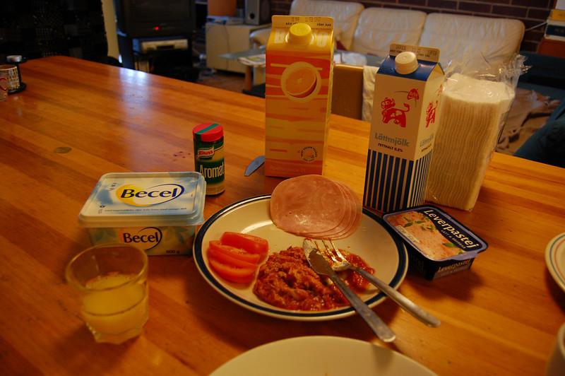 Breakfast on my first day in Sweden