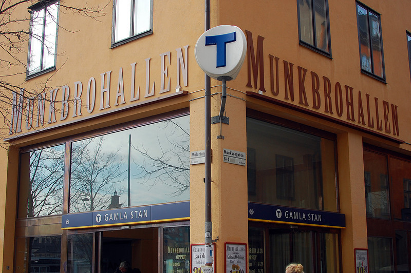 "The big ""T"" indicates the entrance to under ground trains"