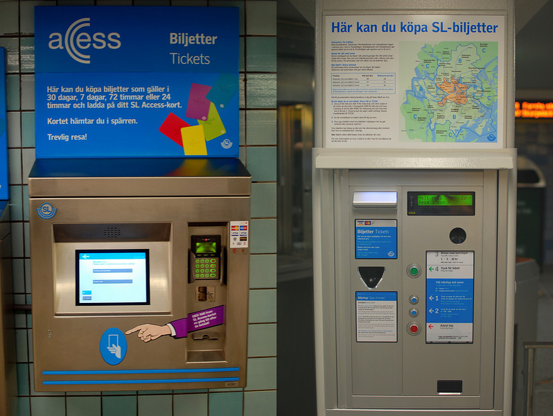 Automatic ticket machines for the monthly, weekly and daily cards.