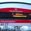Högalidsgatan bus stop outside our apartment. The text screen updates the bus number, final destination and wait time.