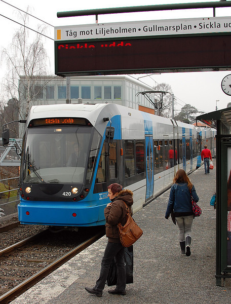 Tvärbanan is a light rail line in the suburbs of Stockholm. Its name literally translated into English is Crossways line.