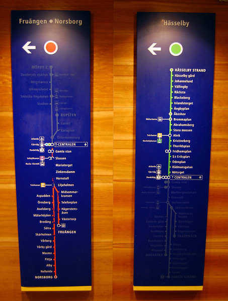 T-bana maps depicting stops along the red & green lines