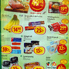 Grocery Store ad ~ From the top: Pork meat, something, banana, cookies, big hot-dog, frozen salmon steaks, pickled hearing, bread, cream, bacon flavored liver paste, OJ
