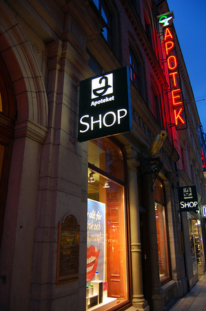 Apotek pharmacy. Before July 1, 2009, Sweden had state run monopoly on pharmacies.