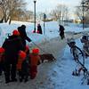 Kinder-gardeners wearing their safety gear while walking around town.
