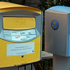 """Swedish mailboxes. Blue is for """"local"""" mail, i.e. Stockholm region. Yellow is for the rest of Sweden and the world."""