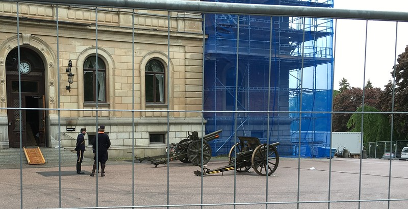 Cannons at the ready, before the promotion. Ack, they're aimed right at the cathedral, where we're sitting!