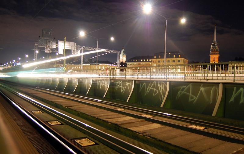 Night train through Stockholm