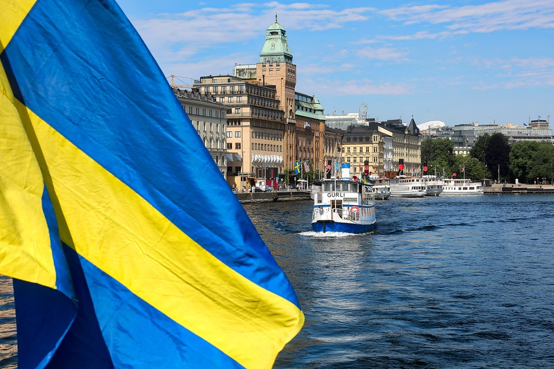 Sweden - Flag and Ferry