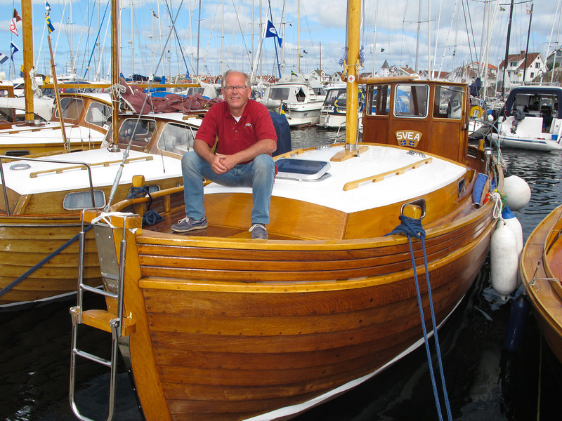 A beautiful boat to start this slideshow with......Johnny Andersson, sitting on his just completed boat, owns a marina; restores, builds old design boats such as this one and provides Winter storage at... Lilla Kalviks Båtbyggeri on island of Orust on Sweden's West Coast. Quite a boat, SVEA, is her name.