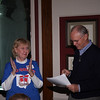 Bengt reading the letter from Barrack Obama, proclaiming that today is LEIF ERICSON DAY in USA while Jo Ross cheers on.