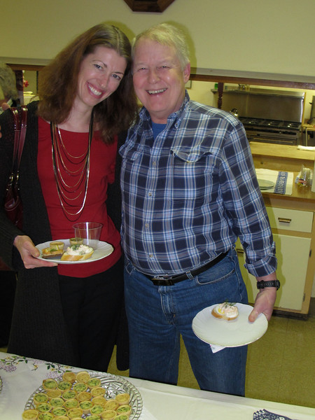 Anna Rietsch and Peter Carlsson obviously selected an open faced shrimp sandwich and sharing a SMILE !