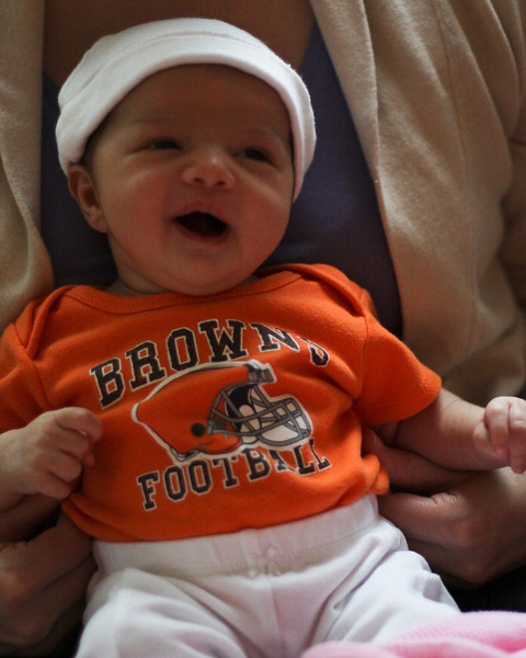 Estelle Paula Patrick, born October 20, 2013. This is from November 13, during the first Quarter of the Browns game.