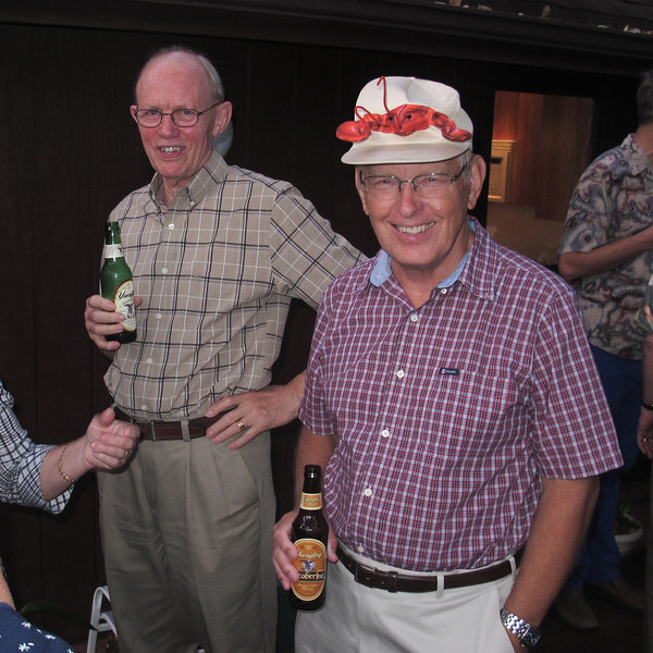 Looking forward to the Crayfish party while having a beer, are Bengt Gerborg and Lasse Eriksson.