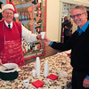 Rolf serving Glögg to Dave.  Where are the Pepparkakor ? !