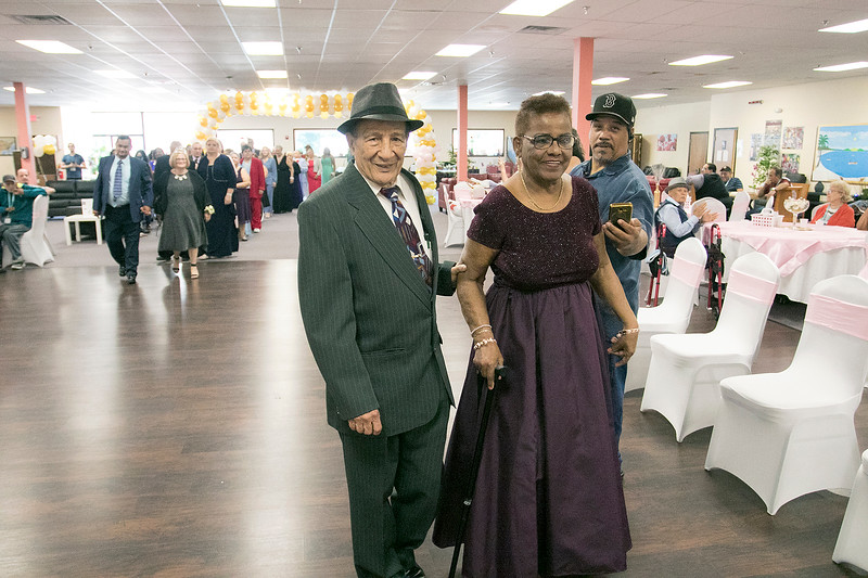 Active Life Adult Care Center in Fitchburg held a Sweet 15 Party on Friday morning for there members. Ramona Quinones being escorted by Eilgio Vasquez walk onto the dance floor to start the event. SENTINEL & ENTERPRISE/JOHN LOVE