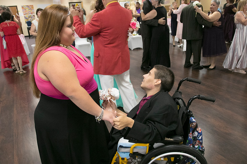 Active Life Adult Care Center in Fitchburg held a Sweet 15 Party on Friday morning for there members. Doing some dancing at the event is Lizzy Rodriguez with her escort Anthony Restrepo. SENTINEL & ENTERPRISE/JOHN LOVE