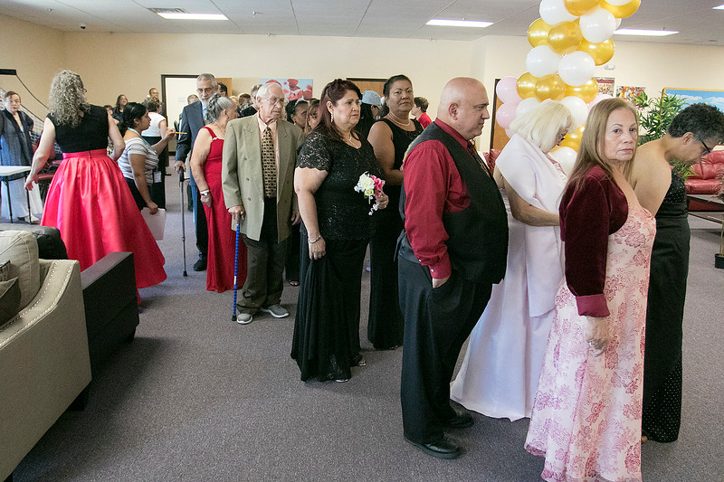 Active Life Adult Care Center in Fitchburg held a Sweet 15 Party on Friday morning for there members. Members all lined up to be escorted in to the festivities. SENTINEL & ENTERPRISE/JOHN LOVE