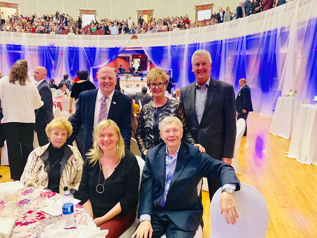. Front row, from left, Carol Duncan of Lowell, Alison Duncan of New York and George Duncan of Lowell; back row, UMass Lowell Vice Chancellor John Feudo of Littleton, and Chancellor Jacquie Moloney and Ed Moloney of Tewksbury