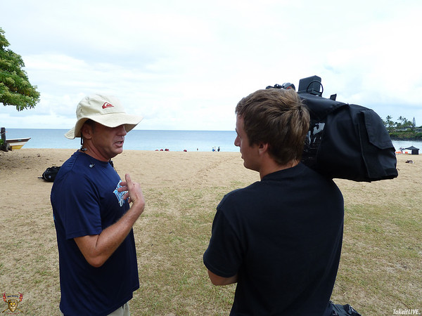 Mike Lewis and Nathan Lundie Prepare to cover the race LIVE! - 2012 Junior Pan Pacific Championships Race in Waimea Bay, Hawaii