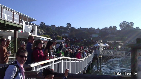 Crowds waiving goodbye to the last ferry 2011 Tiburon Mile