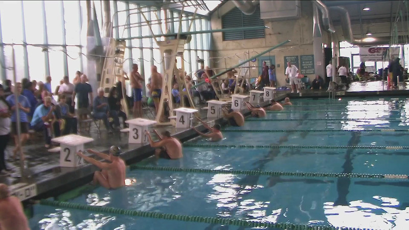 Men's 100 m Backstroke Heat 1 - 2013 SPMS Regional Championships, Commerce, Ca