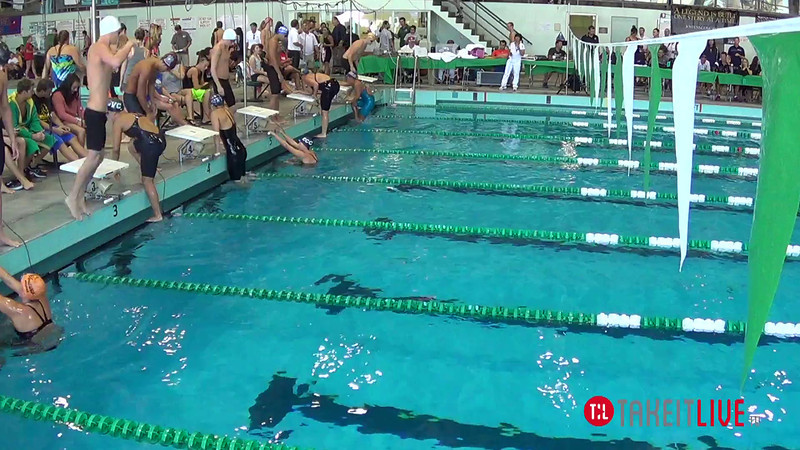 Men's 100 Backstroke Heat 1 - 2014 CCCA Swimming and Diving State Championships