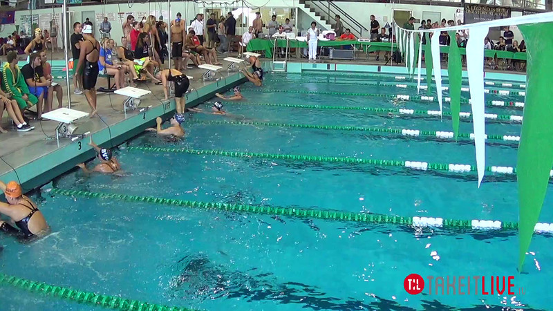Women's 100 Backstroke Heat 3 - 2014 CCCA Swimming and Diving State Championships