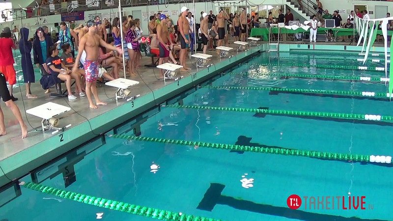 Men's 100 Backstroke A Final - 2014 CCCA Swimming and Diving State Championships