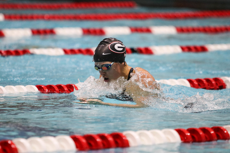 Georgia's Emily Cameron during the Georgia Fall Invitational at the Gabrielsen Natatorium on Friday, Dec. 2, 2016. (Photo by Cory A. Cole)