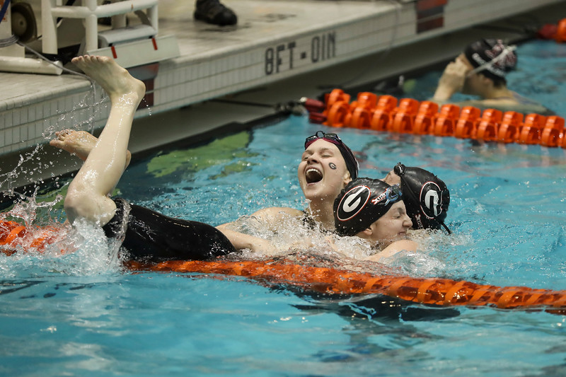 Georgia swimmers Olivia Smoliga and Veronica Burchill - UGA Swimming & Diving Team (Photo by Donald Page / Georgia Sports Communication)
