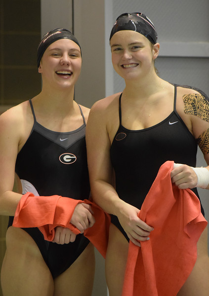 UGA divers McKensi Austin and Olivia Ball compete in the SEC Championships, at the Allan Jones Intercollegiate Aquatic Center in Knoxville, TN on Wednesday, 02/15/2017 (Photo by Steven Colquitt / Georgia Sports Communications)