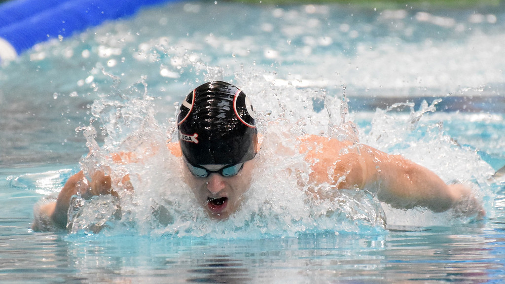 Georgia's Gunnar Bentz during the NCAA Men's Swimming and Diving Championships in Minneapolis, Minn., on Friday, March 23, 2018. (Photo by Steven Colquitt)