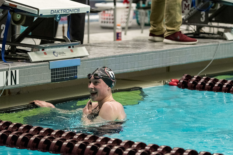 Feb 18, 2018; SEC Swimming and Diving Championships in College Station, TX. Photos by Thomas Campbell/Texas A&M Athletics  Georgia's Courtney Harnish