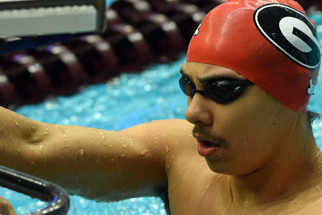 Georgia's Javier Acevedo during the SEC Swimming and Diving Championships in College Station, Texas, on Wednesday, Feb. 14, 2018. (Photo by Steven Colquitt)