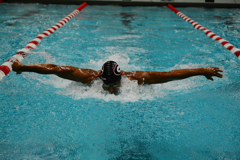Georgia swimmer Camden Murphy during the Bulldogs' meet against Ga Tech at the Gabrielsen Natatorium in Athens, Ga. on Wednesday, Nov. 8, 2017. (Photo by Caitlyn Tam)
