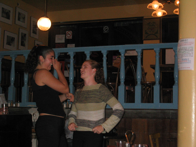 2003 - Stella Abad laughin' it up with Sarah Lash