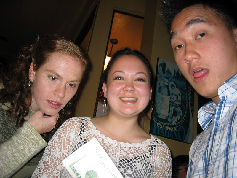 2003 - Sarah Lash checkin' out Cathy Clerkin's bills with Steven Wong