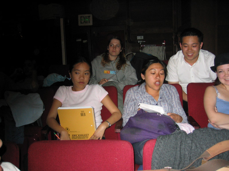 2003 - Stephanie Wong, Stephanie Johnson, Cheryl Chan, uhhh, & Cathy Clerkin awaiting our stage rehearsal for show